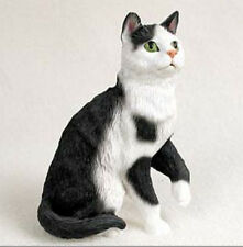 BLACK AND WHITE SHORTHAIR TABBY CAT Figurine Statue Hand Painted Resin Gift