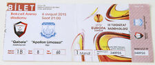 Ticket for collectors EL Gabala FC - Apollon Limassol 2015 Azerbaijan Cyprus