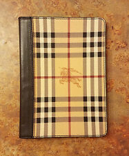 Burberry 'Haymarket Check' iPad Mini Case Brown Leather MSRP $375