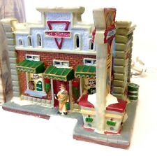 Holiday Village Gas Station Lighted Christmas Streets 2005 Collection In Box
