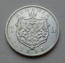 Romania 1 Leu 1894. KM#24. One Silver Dollar coin.