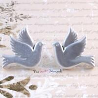 FUNKY DOVES STUD EARRINGS GIRLS QUIRKY PEACE HAPPINESS LOVE KITSCH GIFT RETRO