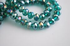 200pcs 4mm Faceted Rondelle Loose Spacer Crystal Glass Beads Peacock Green AB