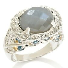 VICTORIA WIECK .78CT GRAY MOONSTONE AND MULTI GEMSTONE STERLING RING SIZE 7 HSN
