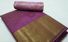 Plain Ethnic Tussar Silk Saree - Purple Tussar Silk with Brocade Blouse - Pattu