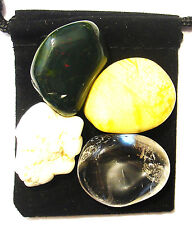 MAGNESIUM DEFICIENCY Tumbled Crystal Healing Set = 4 Stones + Pouch + Card