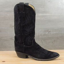 Justin Made in USA Black Roughout Suede Leather Cowboy Western Boots 10 D
