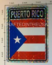"Reflective Sticker Puerto Rico State Flag 3x4"" Inches Adhesive Car Bumper Decal"