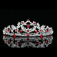 Gorgeous Floral Red Rhinestone Crystal Prom Bridal Wedding Tiara 7658