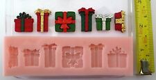 CHRISTMAS PRESENTS SET SILICONE MOULD FOR CAKE TOPPERS, CHOCOLATE, CLAY ETC