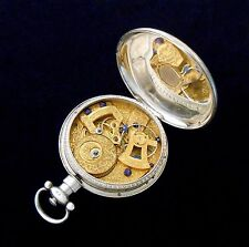Bovet Fleurier Chinese Duplex Pocket Watch Silver Case Center Second Hand 1870s