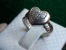 David Yurman Sterling Silver Pave Diamond Love Heart Split Shank Cable Ring