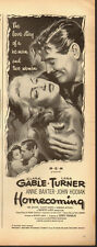 1948 Vintage movie ad`Homecoming, Clark Gable`Lana Turner`Sexy (022414)