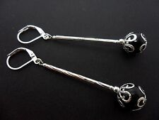 A PAIR OF BLACK ONYX  SILVER PLATED LONG DANGLY LEVERBACK HOOK EARRINGS. NEW.
