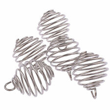 25 Spiral Round Wire Bead Cages Jewellery Neck Pendants Silver Plated 12x18mm