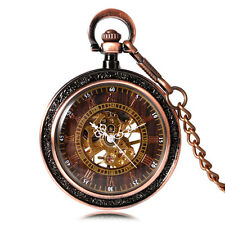 Transparent Skeleton Open Face Mechanical Pocket Watch Retro Vintage Pendant