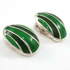 Vintage David Andersen Sterling Silver Modernist Green Enamel Clip On Earrings