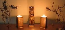 Egyptian 2 t-light holders decoration & Cheops figure gold handmade