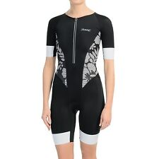 ZOOT Women's Ultra Tri Aero Skinsuit Black Island Triathlon Suit - Sz XS - Black