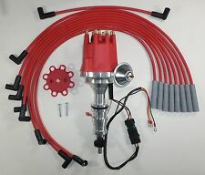 FORD FE 352-360-390-427-428 RED Small Cap HEI Distributor & RED Spark Plug Wires