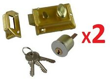 2 X FRONT DOOR LOCK NIGHT LATCH Rim Cylinder Style TRADITIONAL POLISHED