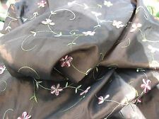 Beautiful Chenille Embroidered Irridescent Mink Brown with Pink Flowers Taffeta