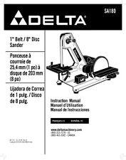 """Delta SA180 1"""" Belt / 8"""" Disc Sander Instruction Manual"""