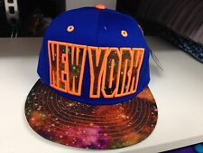 NY Star Galaxy Snapback Flat Peak Baseabll Fitted Hats, Hip Hop Caps Royal
