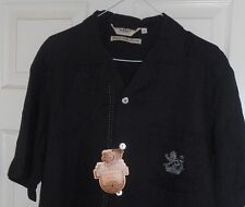 New! DaVINCI Black with Silver Embroidered Lion Crest! Camp Collar ROCKABILLY-M
