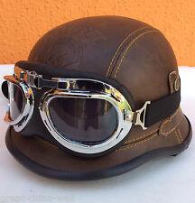 Chopper Biker Helm Gr.XL BRAUN Logo BULZEYE Wehrmacht Motorrad mit Brille
