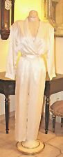 VINTAGE COUTURE PURE SILK SATIN CREAMY WHITE IVAVA  JUMPSUIT