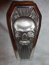 COFFIN SHAPED SILVER SKULL  METAL  CIGARETTE CASE