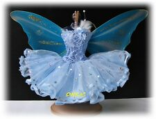Barbie Dress up Blue Fantasy Fairy Butterfly Costumes Outfit for Dolls Handmade