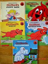 Vintage Clifford The Big Red Dog Scholastic Book Kids Teacher Lot of 5 Bridwell