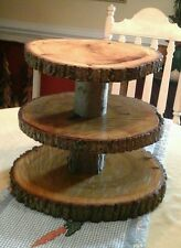 Rustic Wedding 3 Tier Natural Log Cupcake & Cake Topper Stand