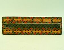 A VICTORIAN MAUCHLINE PRINCE CHARLIE TARTAN WARE CRIBBAGE BOARD & MARKERS C.1870