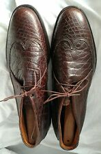 NETTLETON BROWN ALIGATOR CROCODILE SHOES SIZE 12 USA MATCHED SKINS