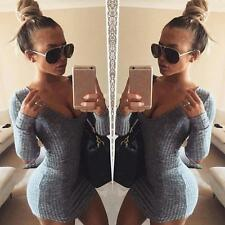 Women Sexy Long Sleeve Bandage Bodycon Party Cocktail Short Mini Dress Size S