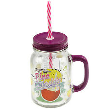 Cocktail Mason Pina Colada Juice Drinks Handled Glass Jar With Lid And Straw New