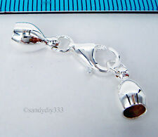 1x BRIGHT STERLING SILVER END CAP 4.5mm CORD with LOBSTER CLASP #1628