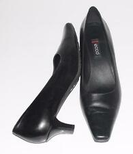 ECCO~BLACK~SOFT LEATHER~SQUARED POINTED TOE~KITTEN HEELS PUMPS SHOES~39