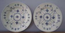 "2 Royal Copenhagen Plain Blue Fluted 8 3/8"" Luncheon Plates 178 Ribbed 1st Qual"