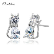 Girl Kids 925 Sterling Silver Cute Kitty Cat Teardrop CZ Stud Earrings Jewellery