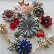 Vintage 21 PC Flower Butterfly Enamel Crystal Brooch Pins Lot Signed Weiss Coro