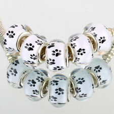 Contracted footprint 5pc SILVER MURANO bead LAMPWORK fit European Charm Bracelet