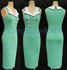 Womens Work Casual Rockabilly Fitted Midi Pencil A Wiggle Bodycon Dress LT.GREEN