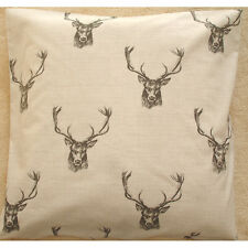 "NEW 24"" Cushion Cover Fryetts Stag Charcoal Black Beige Stags Deer Antlers"