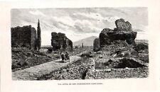 Stampa antica ROMA viandanti fra le rovine lungo la VIA APPIA 1880 Old Print