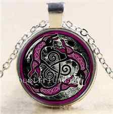 Celtic Cat Photo Cabochon Glass Tibet Silver Chain Pendant Necklace