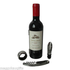 Wine Bottle Accessory Gift Set – Corkscrew Bottle Opener Collar Kit - Mens Gift